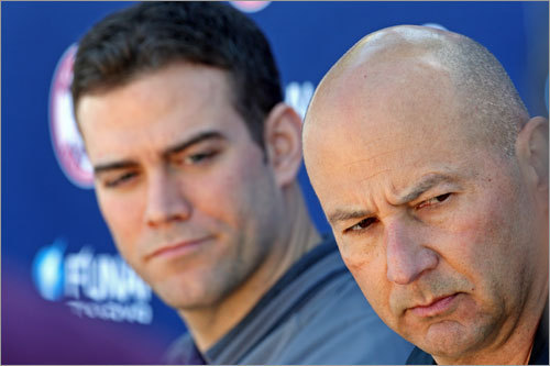 Epstein and Francona took questions from reporters during an impromptu press conference on the bench outside the clubhouse.
