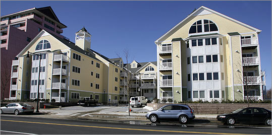 Twenty new units at the Atlantica on Revere Beach will go to auction in March. Minimum bids: $215,000 to $315,000.