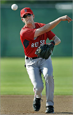 Red Sox shortstop prospect Jed Lowrie worked out Monday in Ft. Myers, Fla., firing a throw to first base.