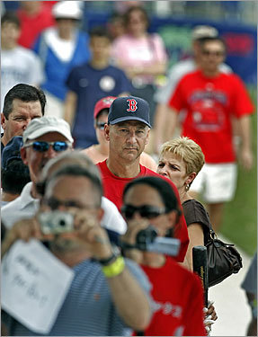 Manager Terry Francona walked through a sea of fans as he made his way onto the field.