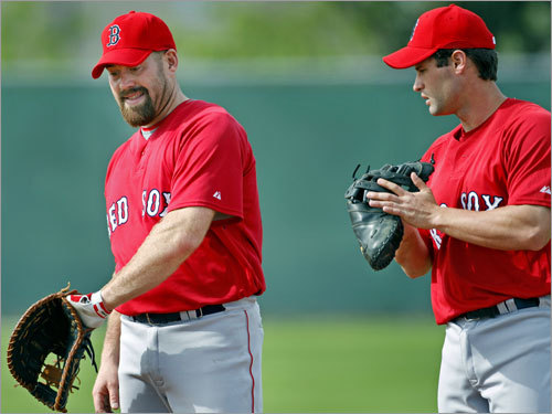 Kevin Youkilis (left) gave pointers to infielder Chris Carter.