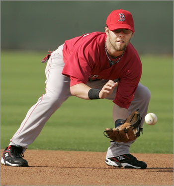 Second baseman Dustin Pedroia did some fielding.