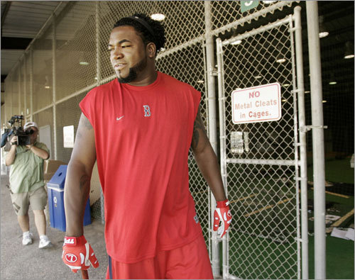 Ortiz was sporting a new hairstyle during his first day at Sox camp.