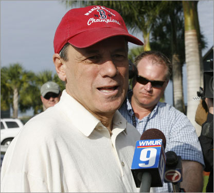 Red Sox president and CEO Larry Lucchino talked to reporters after arriving at the team's baseball spring training facility in Fort Myers, Fla., Wednesday.