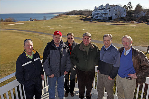 Members of the White Cliff Condominium Association are fighting plans by the golf and condo community's board of governors to spend such a hefty sum to stop the erosion of the golf course. Shown here are association members (from left), Bob Lavery, Neil Scanlon, John Weld, Kevin Doyle, Charlie Downing, and Tom Gorman. Read more about the battle over the White Cliffs golf course