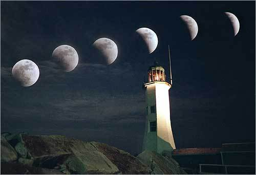 The total lunar eclipse as seen over the Scituate Lighthouse in a multiple-exposure photograph. The moon is shown in 10-minute intervals, beginning at 8:45 p.m. (left) to 9:35 p.m., when it was almost in its totality.