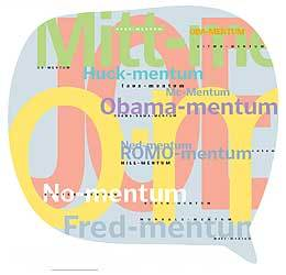 The graphic above depicts a sampling of new –mentum words, with size proportional to number of appearances on blogs.