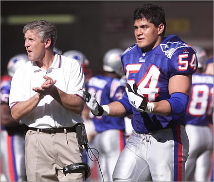 Bruschi recorded a career high 138 total tackles in 1999, including two sacks, and was credited with his first interception. At left, Bruschi stood with former Patriots coach Pete Carroll at a game against the Arizona Cardinals.