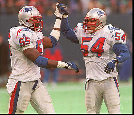 Bruschi (right) entered the league in 1996 after the Patriots selected him in the third round (86th overall) out of Arizona. He played in every game as a rookie, finishing the season with 11 tackles, including four sacks.