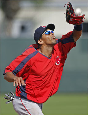 Red Sox shortstop Julio Lugo fights the sun and makes the catch during a high pop up drill during Tuesday's workout.