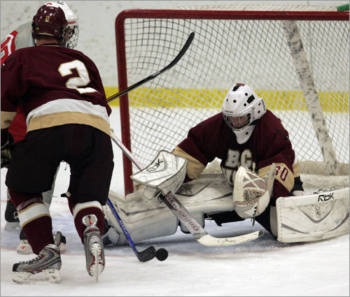No. 4 BC High 2007-08 season : The defending Super 8 champs lost a ton of talent in the offseason, including much of its defense and its All-Star netminder. Even still, the Eagles opened the season at 4-0-2 with wins over Super 8 entrants Needham and Xaverian en route to an 11-4-5 mark. Losses included two to St. John's Prep and one to Coyle-Cassidy. Forsberg's thoughts : How ironic that, despite the losses on defense, including netminder Joe Cannata, the Eagles' strength right now is in net with Sam Marotta. In a bracket with plenty of offensive firepower, BC High will go as far as Marotta can take them. All-Scholastic John Heffernan provides the offensive firepower.