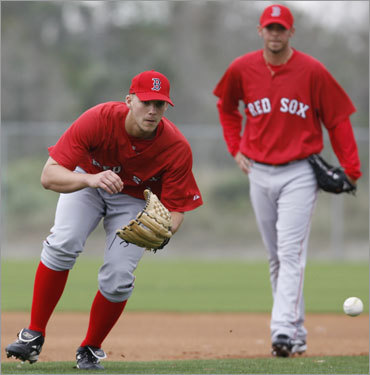 Pitcher Justin Masterson (left) gets ready to field a ground ball while fellow pitcher David Pauley watches during drills at the team's baseball spring training facility in Fort Myers, Fla.