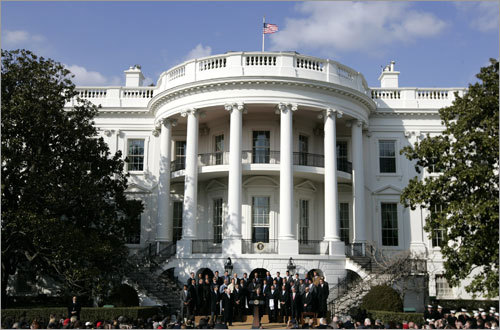 President George W. Bush (center) addressed the 2007 World Series Champions Boston Red Sox on Wednesday on the South Lawn of the White House in Washington, D.C.
