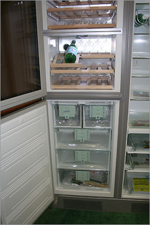 This fridge/wine cooler is CFC free, RoHS approved, and Energy Star rated. Even the water used in the refrigerator's production was purified and pollutant free and its packaging was made from 100 percent recyclable materials.
