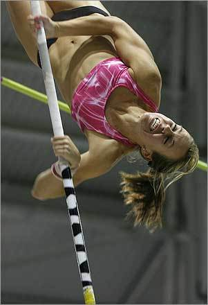 Erin Asay made her attempt in the pole vault finals at the US Indoor Track Championships. The event was held at the Reggie Lewis Athletic Center in Boston.