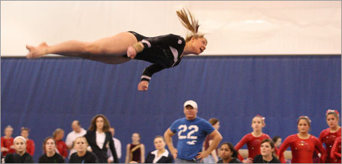 Chelmsford's Allison Carr performs her floor routine.