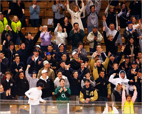 Malden Catholic fans cheer following the Lancers' 4-2 win over St. John's Prep.