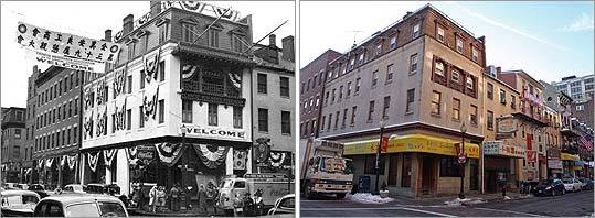 The Chinese Merchants Association set up its headquarters at 2 Tyler St., at the corner of Beach Street, from 1919 to 1951 before moving to 20 Hudson St. Bunting was hung outside the building (left) in celebration of the 39th annual national convention held in Boston around 1943. At right, the same building in a photo taken last month.