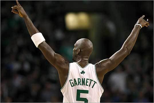 The Celtics beat the Charlotte Bobcats, 108-100, in a game on Feb. 29. Left, Boston Celtics forward Kevin Garnett.