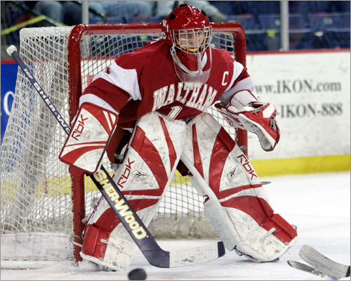 Waltham goalie Steve Hopkins protects his net.