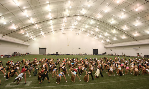 Even though the Patriots' season ended with a disappointing Super Bowl loss, more than 300 determined women showed up for a spirited audition for the cheerleader squad at the Dana-Farber Field House at the rear of Gillette Stadium.