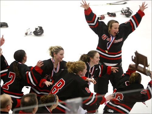 Hingham players celebrate a 6-1 victory in the Division 2 title game.