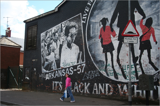 A Belfast mural parallels Ireland's troubles with the US civil rights era.