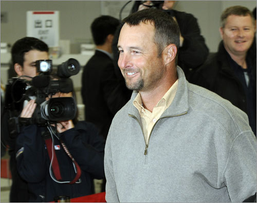 Tim Wakefield was all smiles after the 20 hour journey from Fort Myers to Tokyo was complete.