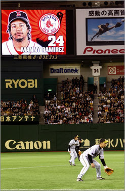 Manny Ramirez was shown on the Tokyo Dome scoreboard while batting in the 1st inning.