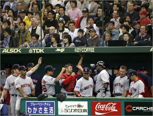 The reaction of the fans in the stands was decidedly more subdued than that in the Red Sox dugout after David Ortiz's 1st inning, solo home run.