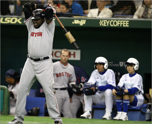 David Ortiz loosened up prior to his first at bat.