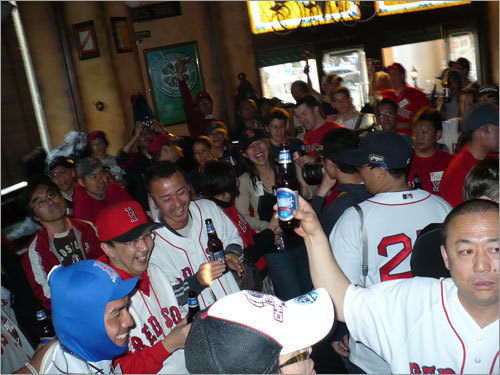 A toast to the defending champion Red Sox was offered