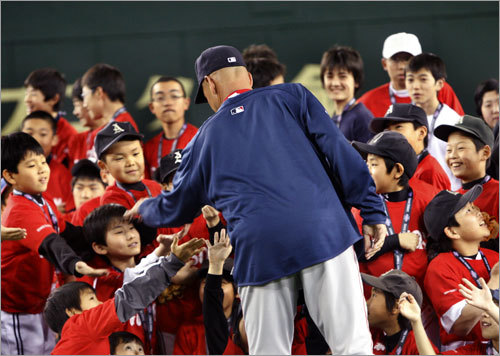 Terry Francona was the center of attention for the young participants of the clinic.