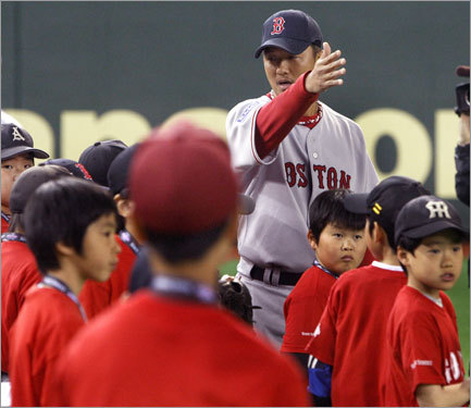 Hideki Okajima helped out at the clinic.