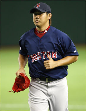 Red Sox Opening Day starter Daisuke Matsuzaka did a little running.