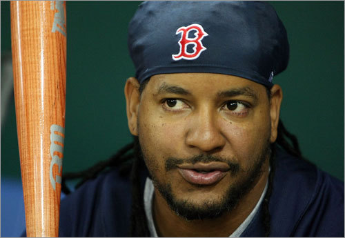 Manny Ramirez hung out in the dugout.