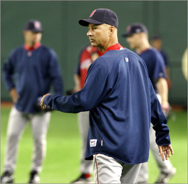 Sox manager Terry Francona roamed the field at the Tokyo Dome.