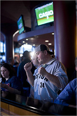 At Game On, Adam Storey showed his disappointment as the Red Sox failed to score early.