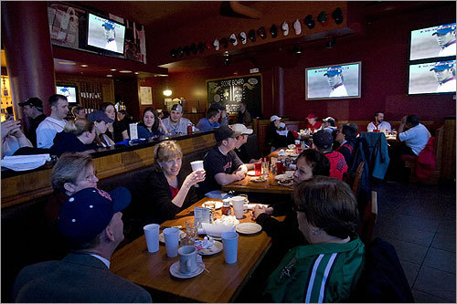 As Daisuke Matsuzaka looked out from the televisions, Red Sox fans enjoyed breakfast and the season opener at Game On.