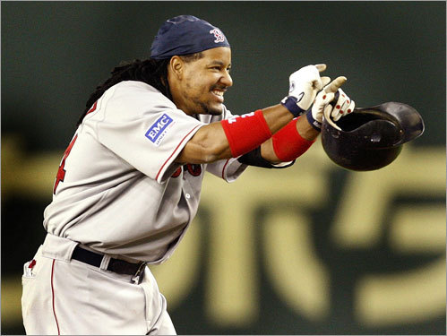 Manny Ramirez reacts after hitting a double for two RBIs against the Athletics in the 10th inning.