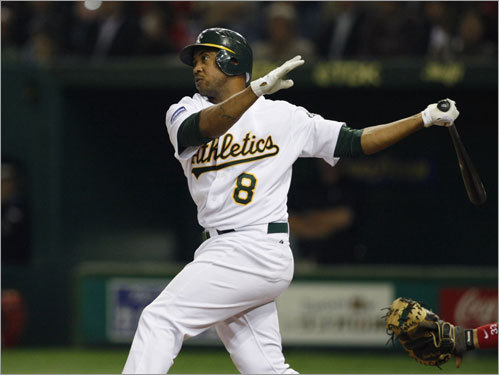 Oakland outfielder Emil Brown strikes a pose after hitting a three-run homer off of Jon Lester in the third inning.