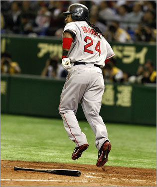 Manny Ramirez paused to enjoy the flight of his solo home run before trotting around the bases.