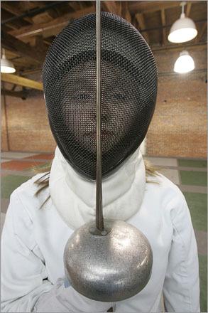 Hannah Schufreider studies fencing at Penta Fencing Club in Lawrence, MA.