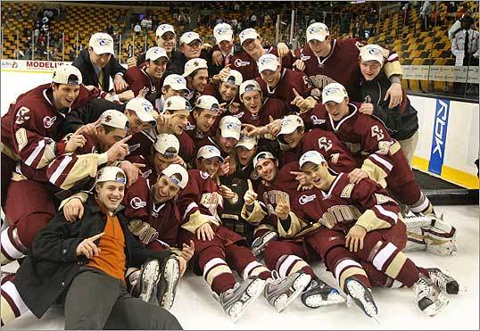 Boston College Eagles played the Vermont Catamounts at the TD Banknorth Garden in the Hockey East Championship game. BC celebrated with their trophy and team photo after beating Vermont 4-0 Saturday, March 22.
