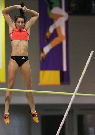 Buy this picture! Jennifer Stuczynsky wins the women's pole vault with a jump of 4.6 meters during the US Indoor Track & Field Championships at the Reggie Lewis Center in Boston in 2007.