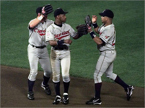 1996-1997 Manny's star continued to rise, as he slugged 59 homers and 200 RBIs between 1996 and 1997. His average dipped in the postseason, though, as he never hit above .300 in either of Cleveland's two World Series campaigns in 1995 and 1997.
