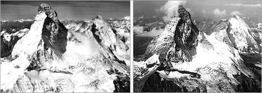 Former Boston Globe reporter David Arnold spent the summer of 2005 retracing the footsteps and photographs of Bradford Washburn, an explorer and founder of the Boston Museum of Science. Forty years earlier, Washburn had photographed some of the worlds most famous glaciers, including the Matterhorn in the Swiss Alps. Arnold's images, such as the one above (right), illustrate how global warming has shrunk the glaciers in the intervening decades. The pictures go on exhibit this week at the Museum of Science.