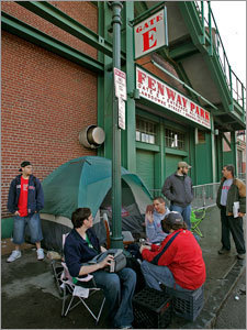A limited amount of day-of-game seating and standing room remain available at Fenway Park for every game. But beware, you might find yourself waiting in a long line throughout the day or even camping out on Lansdowne Street in anticipation of bigger games like Opening Day, Yankees series, or the playoffs.
