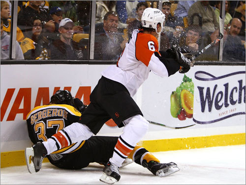 Bergeron suffered a concussion and broken nose when he was slammed facefirst into the boards by the Flyers' Randy Jones Oct. 27.