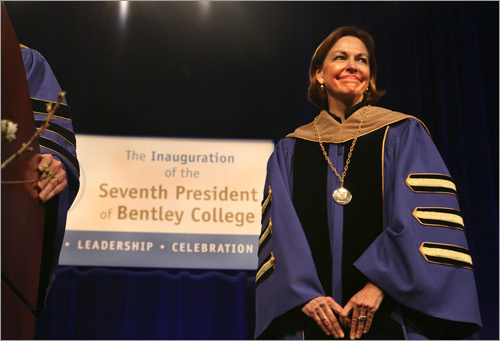 Bentley College celebrated the inauguration of its seventh president, Gloria Cordes Larson (right), last Friday.